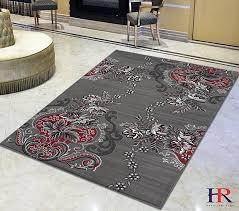 handcraft rugs lava red gray silver black abstract area rug modern contemporary flower patterned