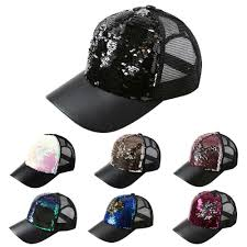 details about casual uni double color hat sequins breathable cap diy mesh baseball hats new