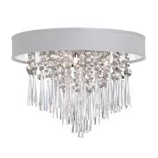 josephine 3 light polished chrome crystal flushmount with white baroness micro