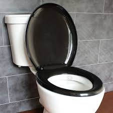 black soft toilet seat. bathroom soft close black oval toilet seat | adjustable top bottom fixing hinges ecospa®