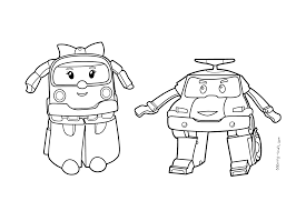Robocar Poli Coloring Pages Poli And Amber For Kids Printable