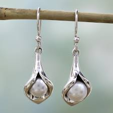 sterling silver pearl earrings jewelry from india calla lily