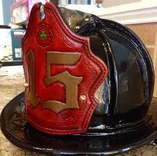 custom fire helmet shield on a sam houston