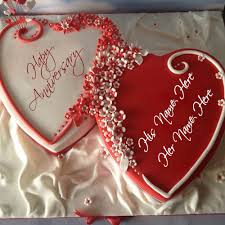 Heart Shape Anniversary Cake Pics With Name