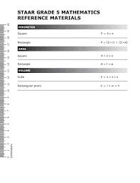 7th Grade Math Staar Reference Chart Staar Grade 5 Mathematics