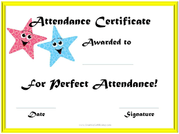 Free Printable Perfect Attendance Certificate Template Inspiration School Attendance Award Colored Clipartimages Pinterest