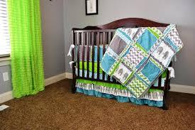 image of modern elephant crib bedding