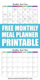 Monthly Dinner Planner Daily Menu Template Bi Weekly Meal Planner Word Dinner Food