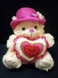 pink teddy with heart flowers teddy bear wallpapers