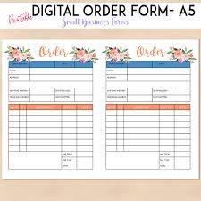 Business Order Form Digital Order Form Printable Template Custom Personalised 1