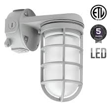 integrated led vapor proof outdoor fixture 20w 70w mh hps equivalent vandal proof jelly jar 4000k cool white etl listed weather tight wall