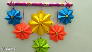 diy paper crafts colourful paper flower wall hanging new year home decor with star wall hanging
