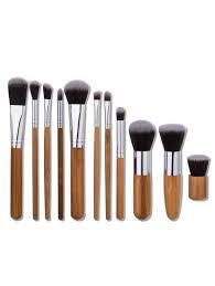 nylon wooden handle makeup brushes set wood