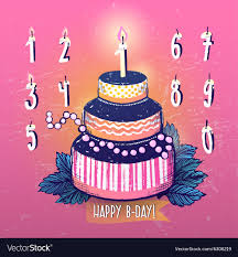 Ink Hand Drawn Happy Birthday Cake And Candles Vector Image