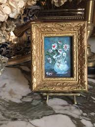 vintage miniature still life painting white daisies deceased southern artist peti clements brass easel included decorative gold frame