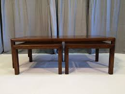 coffee table with matching side tables walnut with brass inlay