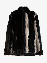 y project stripe faux fur jacket