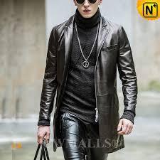 3 4 length leather coat cw808038 cwmalls com