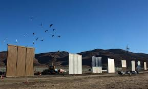 image eight prototypes of president donald trump s us mexico border wall being built near