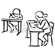 student desk clipart black and white. two students at their desks in the classroom doing schoolwork student desk clipart black and white