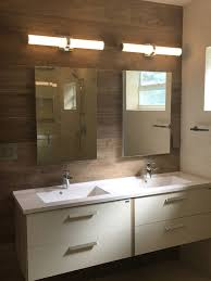 miami bathroom remodeling. Double Floating Vanity With Quartz Countertop \u0026 Porcelain Wall Planks Miami Bathroom Remodeling S