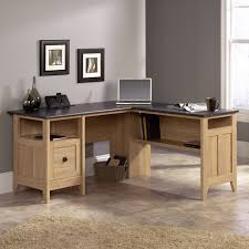 chic wooden l shaped desk by sauder furniture on beige tile floor which matched with gray chic shaped home office