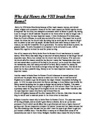 why did henry viii break from the r church gcse history  page 1 zoom in