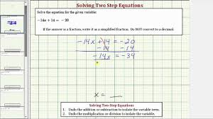 ex solve a two step equation ax b c fraction answer