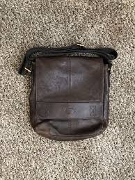 2016 fossil leather courier bag