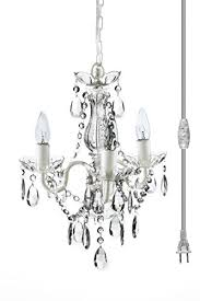the original gypsy color 3 light mini plug in crystal chandelier for h17 w12 white metal frame with clear acrylic crystals