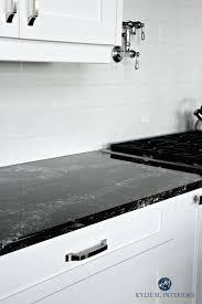 Nice Black Quartz White Kitchen Cabinets And Off Light Gray Subway Tile  Backsplash With Dark Ideas . White Tile Backsplash Subway With Light Gray  ...