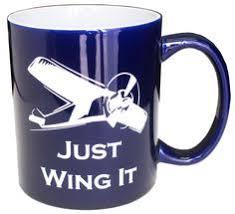 perfect pilot gift just wing it mug royal blue fallon aviation