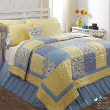 Blue and Yellow King Size Quilted Comforter with 7pc Patchwork ... & Blue and Yellow King Size Quilted Comforter with 7pc Patchwork Bedding Set,  and Blue Ruffled Adamdwight.com