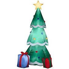 Gemmy Airblown Inflatable Christmas Tree Decorated With Ornaments and  Presents Beside It - Indoor Outdoor Holiday