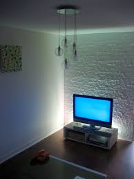 Kitchen Feature Wall Paint Lighting An Exposed Brick Wall Rustic Wooden Seat Also Ceiling