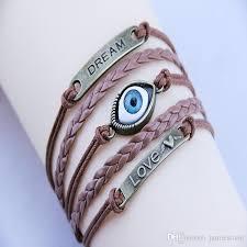 whole fashion jewelry dozen leather bracelet men braided black evil eye bracelet aw 1073