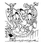 Kleurplaten Van Donald Duck En Kwik Kwek En Kwak