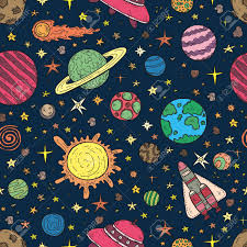 Space Pattern Interesting Seamless Pattern With Cute Hand Drawn Space Objects Royalty Free