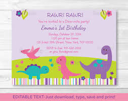 Print Birthday Invitation Details About Girl Dinosaur Printable Birthday Invitation Editable Pdf