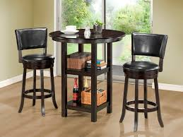 small high top round kitchen table with storage and