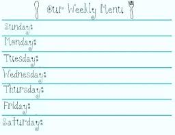 Printable Weekly Dinner Menu Menu Template Word Weekly Dinner Free Printable Planner Add
