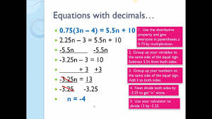 solve equations with decimals and fractions lesson 9 math 100g