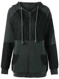 lace panel plus size zip up hooded coat deep gray 2xl fashion cotton blendsspandex