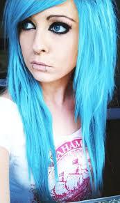 bibi barbaric blue emo scene hair style german scene queen and site model piercings make up