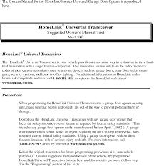 GTX2HL3 Universal Garage Door Opener User Manual Homelink III ...