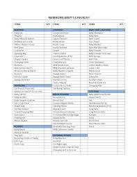 Sample Newborn Checklist Baby Checklist Template 1