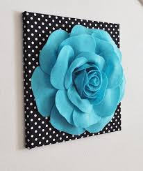 wall art ideas design hangings decorated 3d flower wall art light blue turqoise on black and white polka dot living room perfect things interior stuff 3d