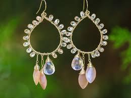 the royal peach earrings peach moonstone and rose quartz statement chandelier earrings wire wrapped in gold filled