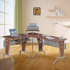 coaster shape home office computer desk. L Shaped Wood Office Desk With Laptop And Printer Coaster Shape Home Computer A