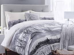 scene in your bedroom with this clever bed in a bag from designer website brandalley the wintry set which includes a double duvet cover